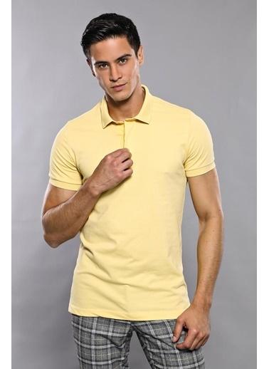 Wessi Erkek Polo Yaka Slim Fit Düz Tişört Sarı